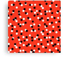 Ditsy colorful polka dot pattern in red, white and black Canvas Print