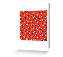 Ditsy colorful polka dot pattern in red, white and black Greeting Card
