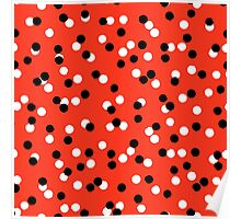 Ditsy colorful polka dot pattern in red, white and black Poster
