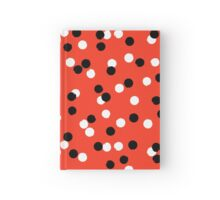 Ditsy colorful polka dot pattern in red, white and black Hardcover Journal