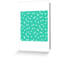 Ditsy classic polka dot pattern in white and aqua green colors Greeting Card