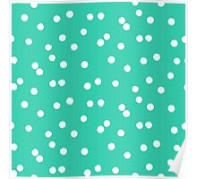 Ditsy classic polka dot pattern in white and aqua green colors Poster