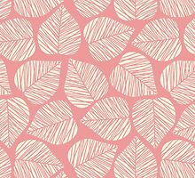 Modern Coral Pink Floral Leaves Pattern by sale
