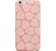 Modern Coral Pink Floral Leaves Pattern iPhone Case/Skin