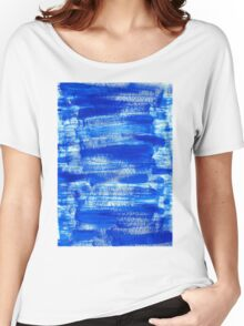 Cool & Calming Cobalt Blue Paint on White  Women's Relaxed Fit T-Shirt