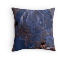 Blue Container Throw Pillow