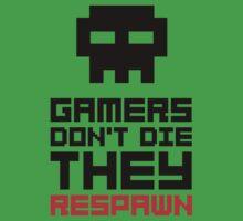 Pixel Skull Gamers Don't Die - Dark Version Kids Tee