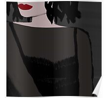 Aria with Carmine Red Lips Wearing Sheet Black Top Poster