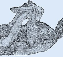 Wolf Playing - Digital Outline by RustyEyron