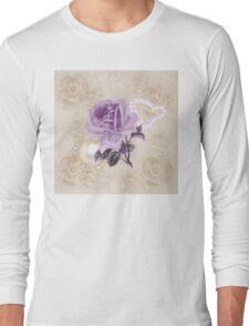 Purple Rose Ivory Roses Rhinestone & Heart Pearls Long Sleeve T-Shirt
