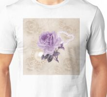 Purple Rose Ivory Roses Rhinestone & Heart Pearls Unisex T-Shirt