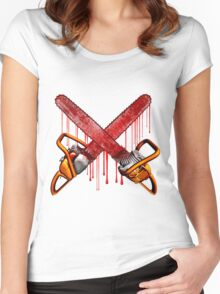Bloody Zombie Chainsaws Women's Fitted Scoop T-Shirt