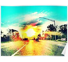 Sunset on the road Poster