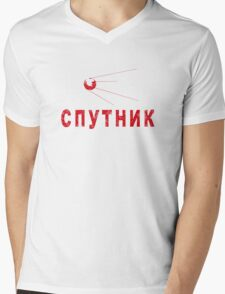 Sputnik Red Mens V-Neck T-Shirt