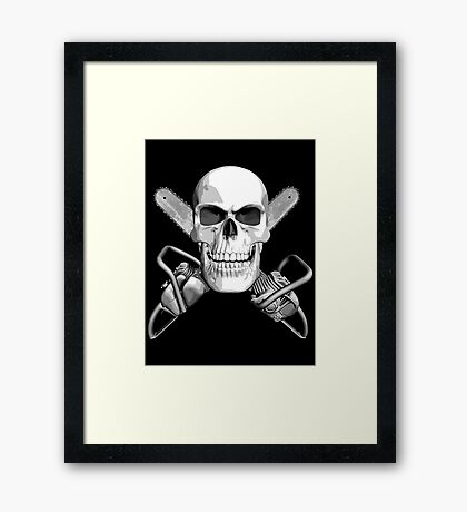 Skull and Chainsaws Framed Print