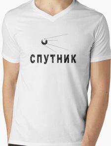 Sputnik Black Mens V-Neck T-Shirt