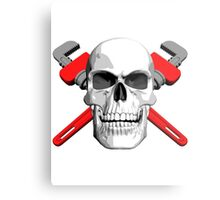 Plumber Skull and Wrenches Metal Print