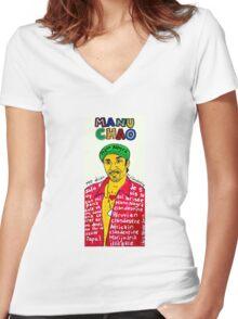 Manu Chao Reggae Ska Pop Folk Art Women's Fitted V-Neck T-Shirt