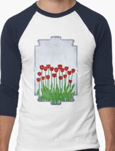 Red Tulips Men's Baseball ¾ T-Shirt