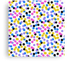 Polka dot print in random blue, black, yellow colors Canvas Print