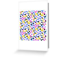 Polka dot print in random blue, black, yellow colors Greeting Card