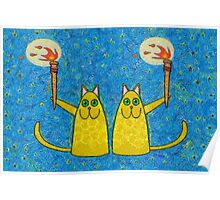 CATS WITH FLAMING TORCHES Poster