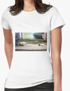 Dogs in Peaceful Slumber Womens Fitted T-Shirt