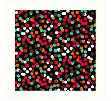 Festive confetti print in bright red black orange colors Art Print