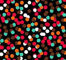 Festive confetti print in bright red black orange colors by tukkki