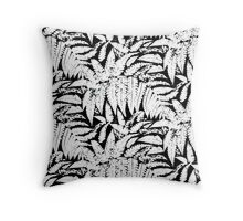 Tropical print in black and white with fern leaves Throw Pillow