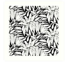 Tropical print in black and white with fern leaves Art Print