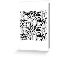 Tropical print in black and white with fern leaves Greeting Card