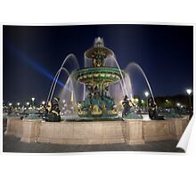 Fountain at Place de la Concorde, Paris Poster
