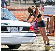 Jogging - A Woman and the Sheriffs Car Photographic Print