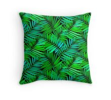 Tropical print in multiple green colors with fern and palm leaves Throw Pillow