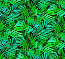 Tropical print in multiple green colors with fern and palm leaves by tukkki