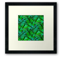 Tropical print in multiple green colors with fern and palm leaves Framed Print