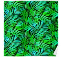 Tropical print in multiple green colors with fern and palm leaves Poster