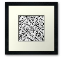 Tropical print in black and white with palm leaves Framed Print