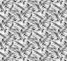 Tropical print in black and white with palm leaves by tukkki