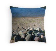 Beach Stones in Michigan Throw Pillow