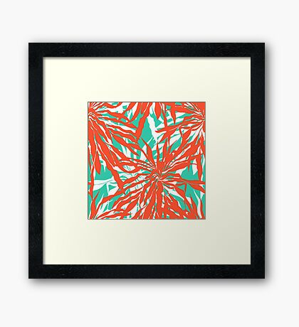 Burnout tropical print with big palm leaves Framed Print
