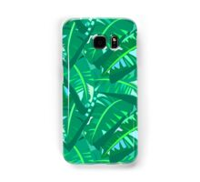 Tropical print in multiple green colors with banana palm leaves Samsung Galaxy Case/Skin