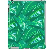 Tropical print in multiple green colors with banana palm leaves iPad Case/Skin