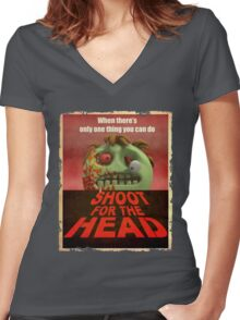 Shoot for the Head Women's Fitted V-Neck T-Shirt