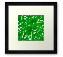 Bright tropical floral print with big banana palm leaves Framed Print