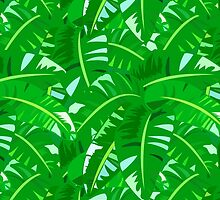 Bright tropical floral print with big banana palm leaves by tukkki