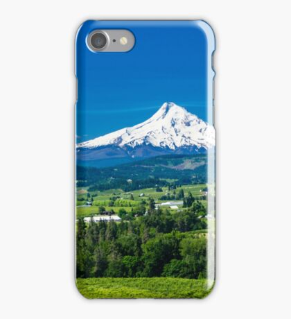 Mount Hood with orchards iPhone Case/Skin