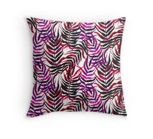 Pink floral tropical print with palm leaves Throw Pillow