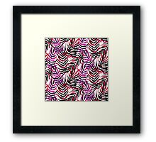 Pink floral tropical print with palm leaves Framed Print